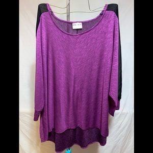 Purple shirt with mesh on sleeve